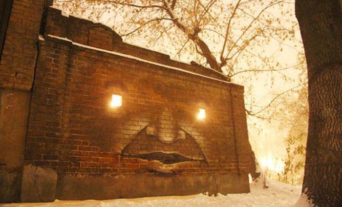 Зловещее граффити с лампами