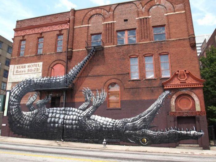 Граффити с крокодилом