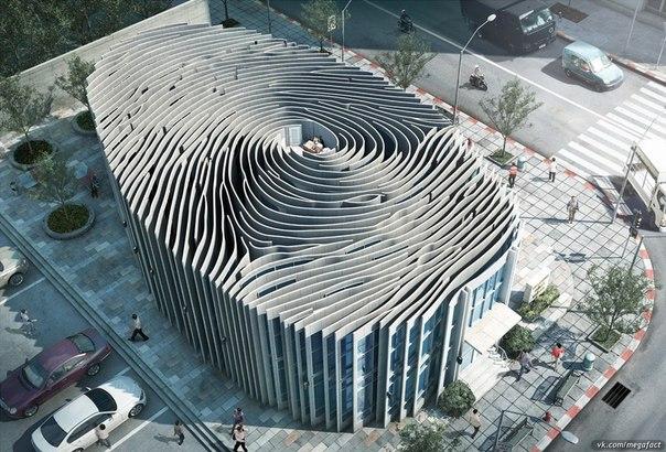 Здание в виде отпечатка
